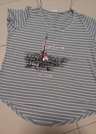 """Натуральная футболка с принтом """"париж"""" 18/20 размер"""