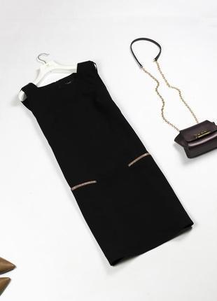 Стильное черное платье футляр с лампасами из экокожи l