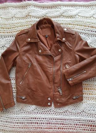 Кожанка косуха байкерская дубленка куртка