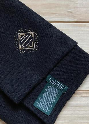 Люксовый шерстяной черный шарф ralph lauren