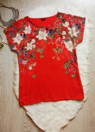 Красная блуза футболка оверсайз с цветочным принтом рисунком стрейч рукава шифон креп