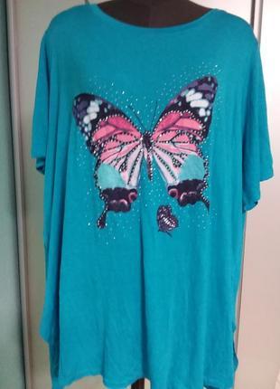 Удлиненная футболка с ярким принтом  22 размер