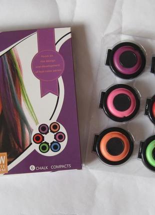 Мелки для волос круглые, 6 цветов