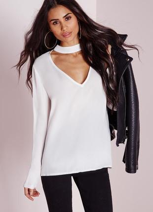Белая длинная блуза рубашка с чокером глубоким вырезом декольте рукав шифон стрейч батал