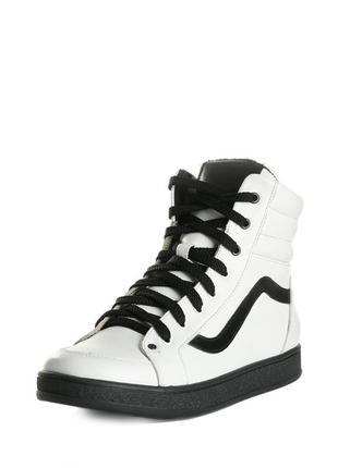 Кожаные женские спортивные высокие демисезонные белые ботинки натуральная кожа