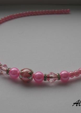 Обруч из бусин розовый
