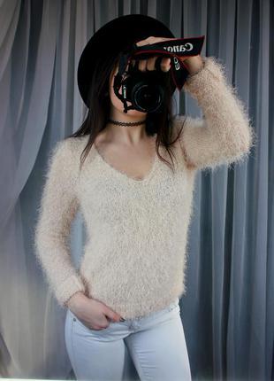 Нежный персиковый свитер - травка - пушистик1