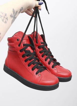 Яркие красные кожаные женские спортивные высокие демисезонные ботинки кеды кожа