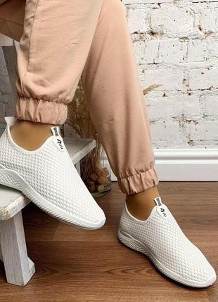 Новые шикарные женские белые мокасины кроссовки