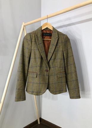 Шикарный шерстяной пиджак/жакет  в клетку от zara винтаж