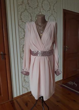 Нарядное  вечернее коктейльное шифоновое платье