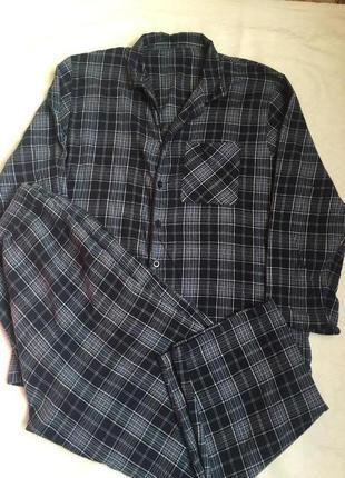 Теплая пижама фланелевая мужская раз 2xl (54-56)