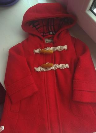 Теплое пальто куртка на флисе next на 3-6-9 мес