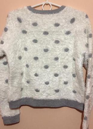 Супер теплый и плотный свитер-травка в горох от marks & spencer4