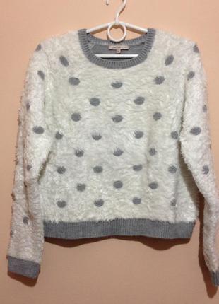 Супер теплый и плотный свитер-травка в горох от marks & spencer1
