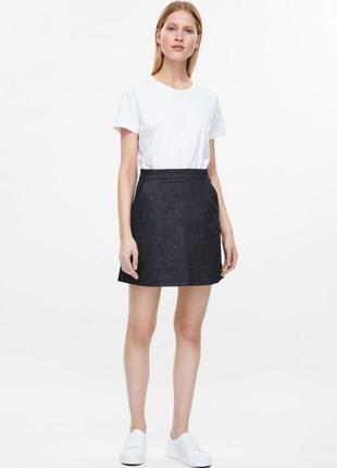 Джинсовая юбка трапеция,высокая талия,высокая посадка cos,36/s