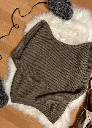 Стильный кофейный свитер со спущенными плечами №97 max