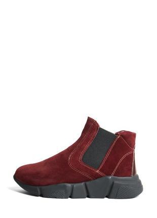 Замшевые женские бордовые демисезонные спортивные ботинки на массивной платформе кожа