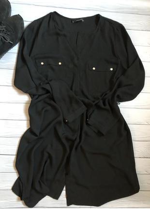 Чорна блузка-туніка, р .16-18