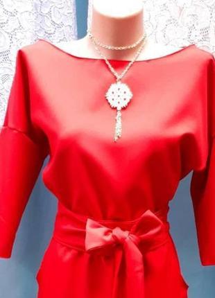 Червона сукня до підлоги (максі) з поясом, красное платье в пол макси
