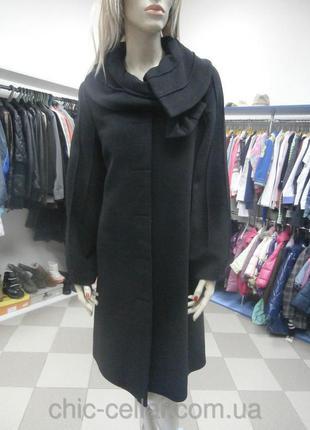 Демисезонное дизайнерское шерстяное с кашемиром пальто трапеция 50 размер