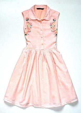 George. нежно персиковое платье с вышивкой, пышной юбкой. 9-10 лет