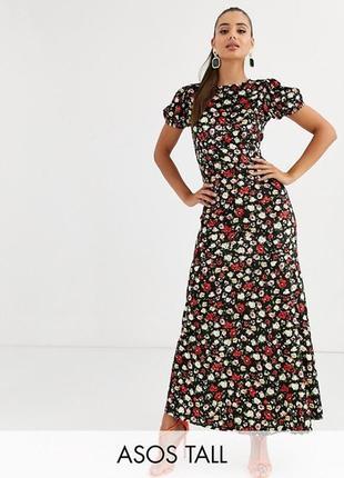 Роскошное велюровое макси платье в цветы от asos