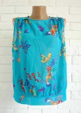 Распродажа яркая блузка из шифона в цветочный принт atmosphere uk12 в идеальном состоянии1