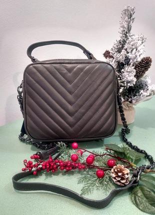 Очень стильная кожаная сумка кросс боди италия сумочка шкіряна