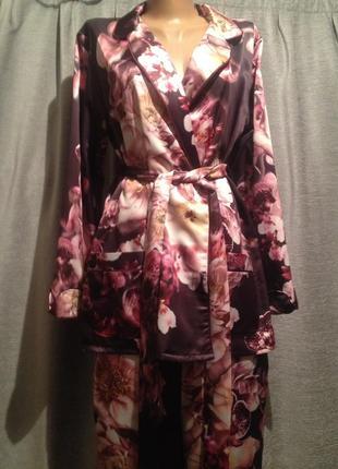 Красивая брендовая атласная пижама.007