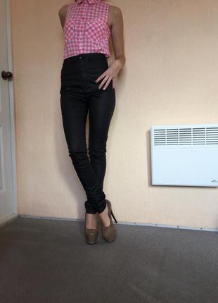 Новые штаны джинсы высокая талия  с пропиткой под кожу р 29  супер скидка супeр цена до 31.013