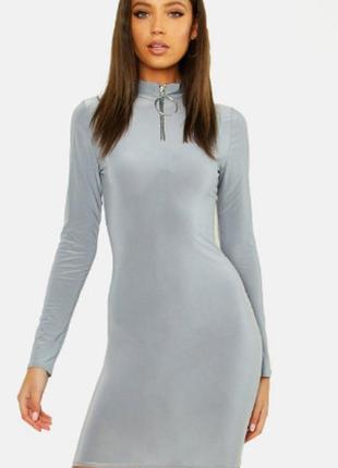 Boohoо, хит продаж, платье футляр с молнией .на наш 42-44. новое.