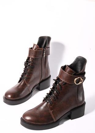 Кожаные женские коричневые демисезонные ботинки на шнуровке с молнией натуральная кожа