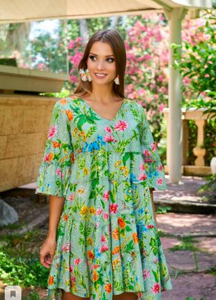 Яркое, цвета весенней листвы, платье пышное из прошвы индиано код 2310
