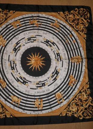 Шикарный платок шарф плотный саржевый шелк знаки зодиака не hermes 88х86см шов роуль