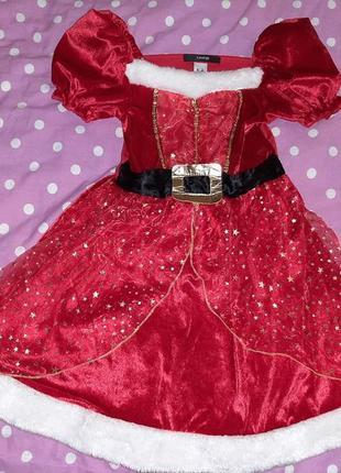Карнавальное платье помощница санты 5-6 лет