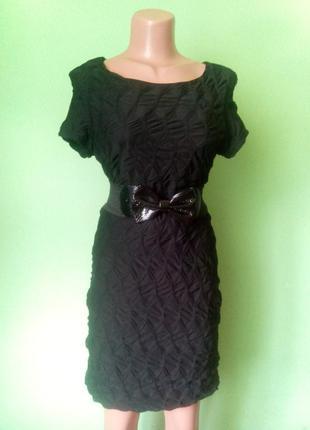 Фактурное черное платье1
