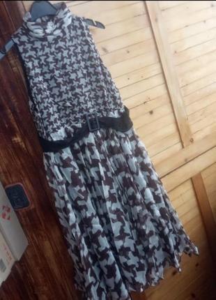 Трендова шовкова, шифонова сукня міді в гусячу лапку, шовк zara