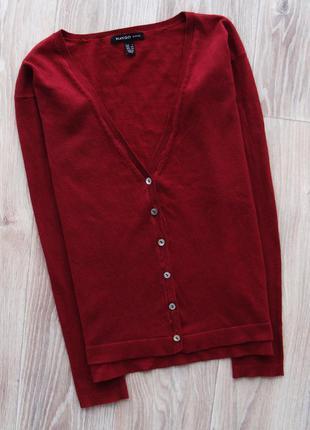 Базовая кофта на пуговицах кардиган пуловер свитер джемпер цвета марсала mango5