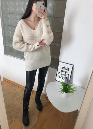 Молочный свитер с пуговицами per una