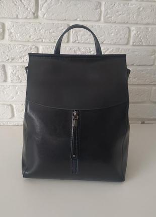 Кожаный рюкзак-сумка(трансформер) темно-синий