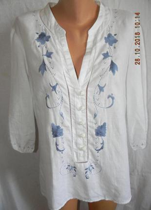 Белая льняная блуза с вышивкой1