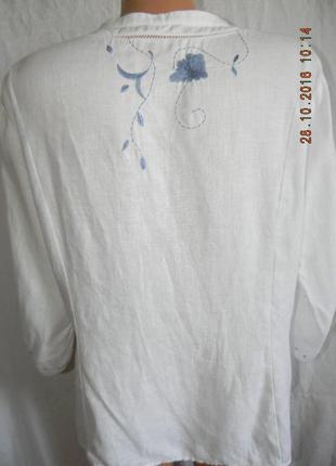 Белая льняная блуза с вышивкой3