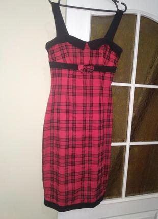 Платье вечернее коктейльное  миди красное в клеточку