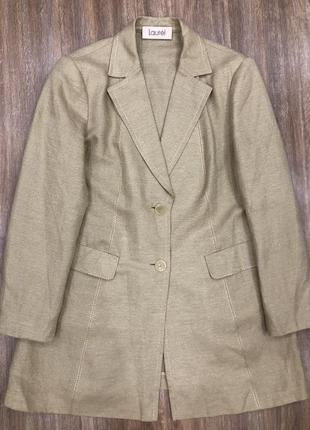 Уникальный эксклюзивный шикарный льняной жакет лён пиджак большой размер