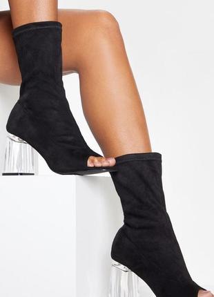 Ботинки с открытым носком на прозрачном каблуке