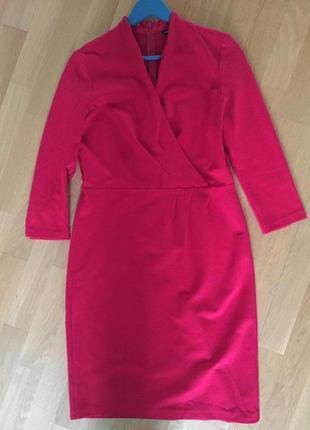 Красное миди платье zara