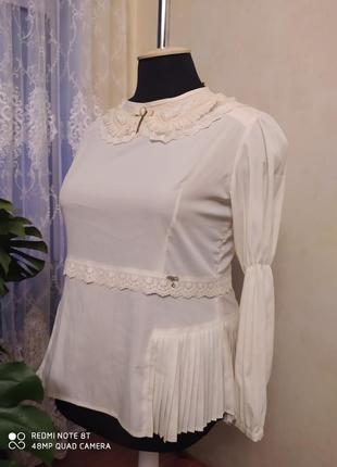 Новая стильная блуза цвета айвори с удлиненной спинкой, terbir, р. 18, пог-58-62