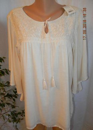Нежная вискозная кремовая блуза с вышивкой большого размера2