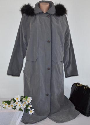 Брендовая утепленная куртка на молнии с капюшоном tiklas натуральный мех
